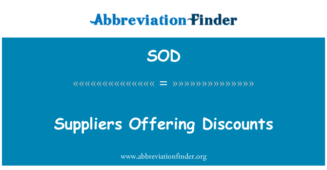 SOD: Suppliers Offering Discounts