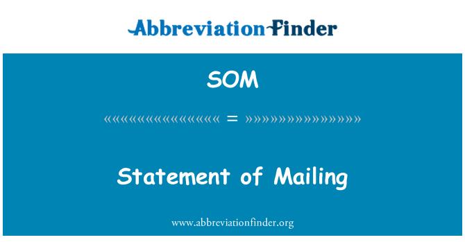 SOM: Statement of Mailing