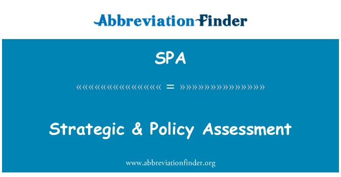 SPA: Strategic & Policy Assessment