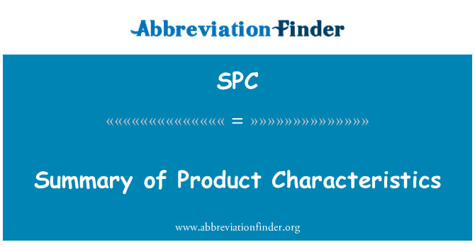 SPC: Summary of Product Characteristics