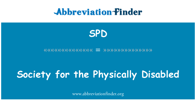 SPD: Society for the Physically Disabled