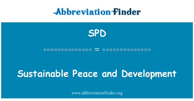 SPD: Sustainable Peace and Development