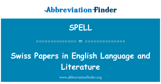 SPELL: Swiss Papers in English Language and Literature