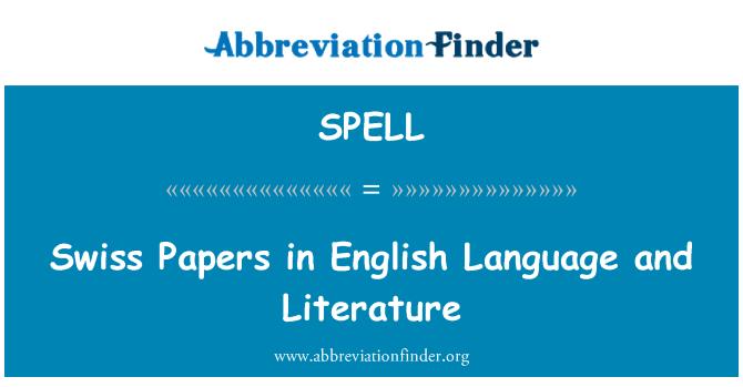 SPELL: Papeles suizos en lengua y literatura inglesa