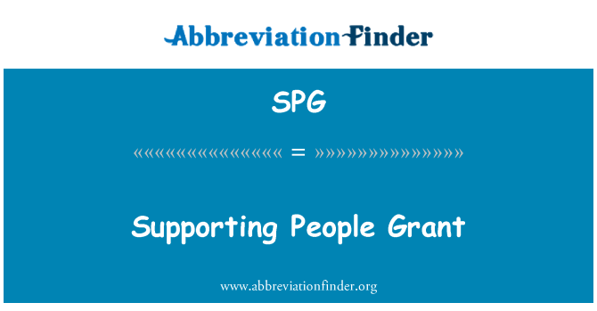 SPG: Supporting People Grant