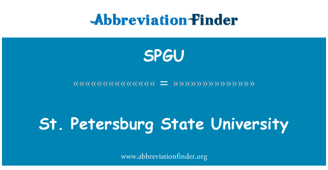 SPGU: St. Petersburg State University