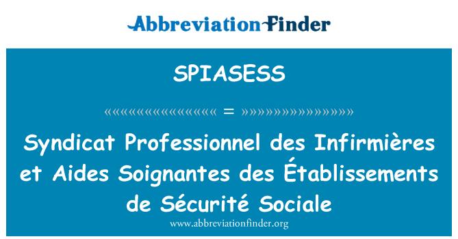 SPIASESS: Syndicat Professionnel des Infirmières et Aides Soignantes des Établissements de Sécurité Sociale