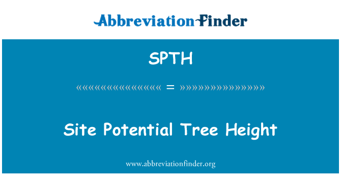 SPTH: Site Potential Tree Height