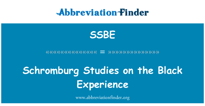 SSBE: Schromburg Studies on the Black Experience