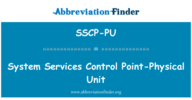 SSCP-PU: System Services Control Point-Physical Unit