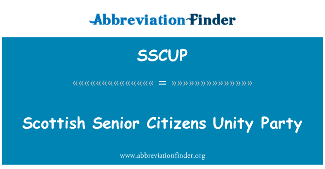 SSCUP: Scottish Senior Citizens Unity Party