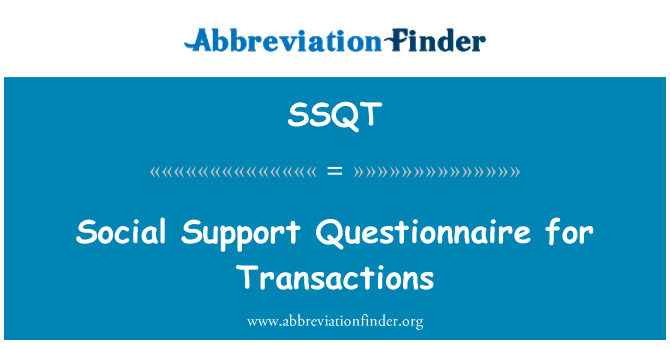 SSQT: Social Support Questionnaire for Transactions