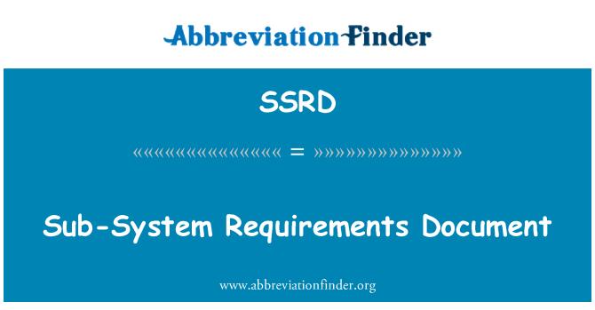 SSRD: Alt sistem gereksinimleri belge