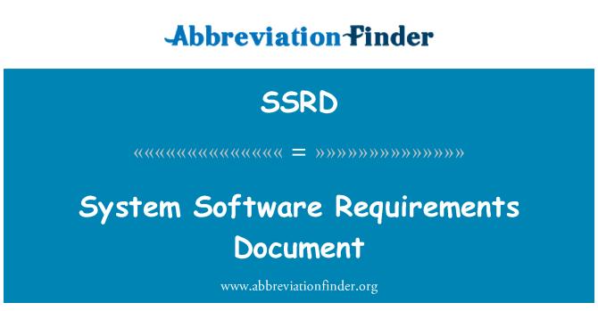 SSRD: Sistem yazılım gereksinimleri belge