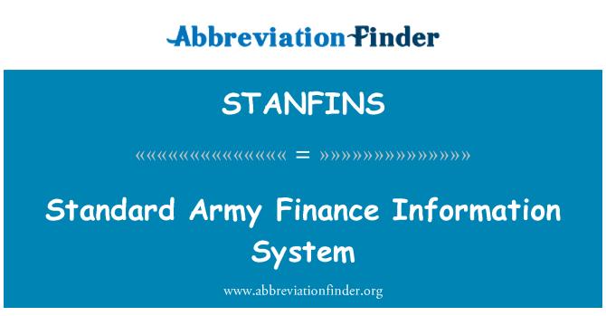 STANFINS: Sistema de información de finanzas ejército estándar