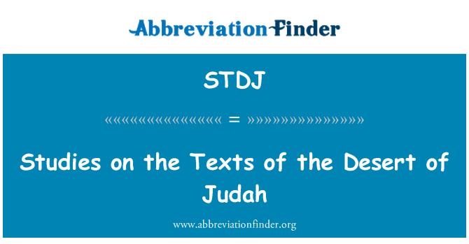 STDJ: Studies on the Texts of the Desert of Judah