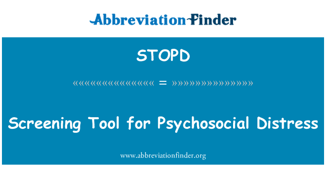 STOPD: Screening Tool for Psychosocial Distress