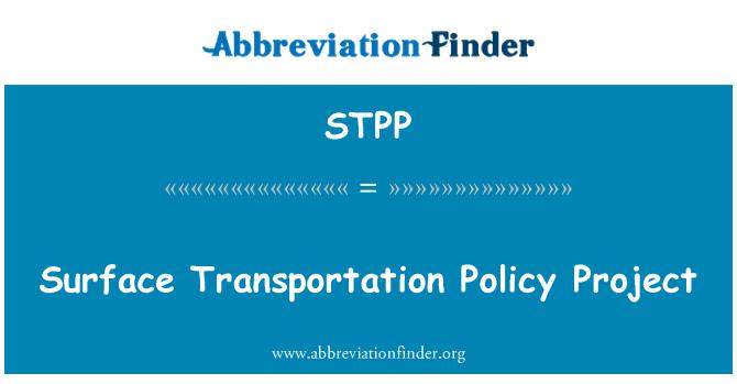 STPP: Yüzey Ulaşım Politikası Projesi