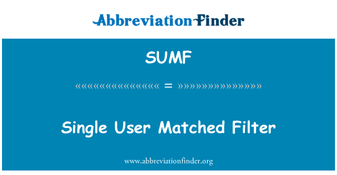 SUMF: Single User Matched Filter