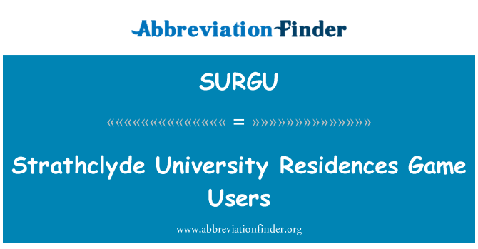 SURGU: Strathclyde University Residences Game Users