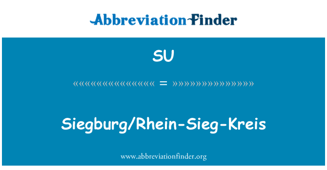 SU: Siegburg/Rhein-זיג-קרייס