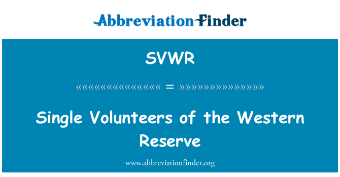 SVWR: Single Volunteers of the Western Reserve