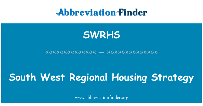 SWRHS: South West Regional Housing Strategy