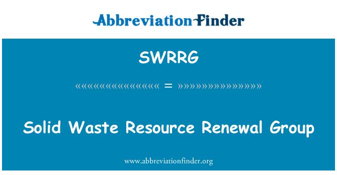SWRRG: Solid Waste Resource Renewal Group