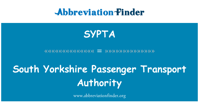 SYPTA: South Yorkshire Passenger Transport Authority