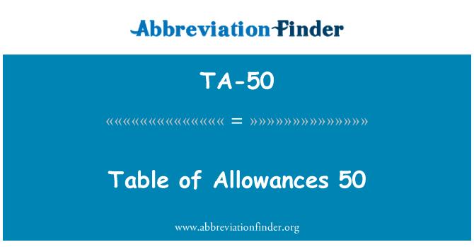 TA-50: Table of Allowances 50