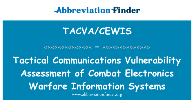 TACVA/CEWIS: Tactical Communications Vulnerability Assessment of Combat Electronics Warfare Information Systems