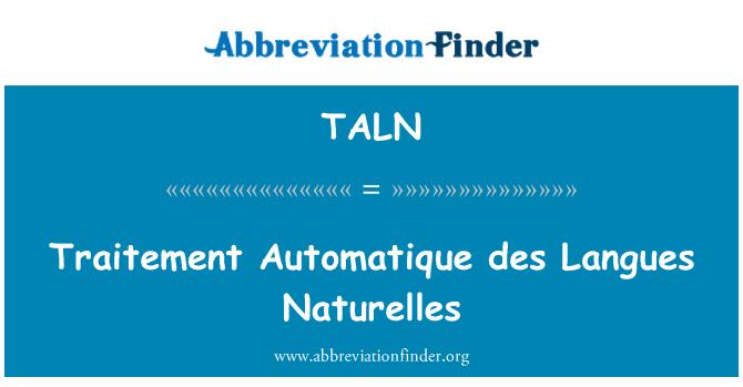 TALN: Traitement Automatique des Langues Naturelles