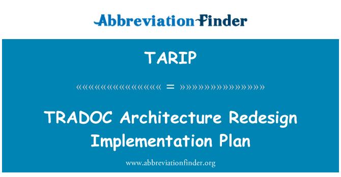 TARIP: Plan de implementación de rediseño de la arquitectura TRADOC