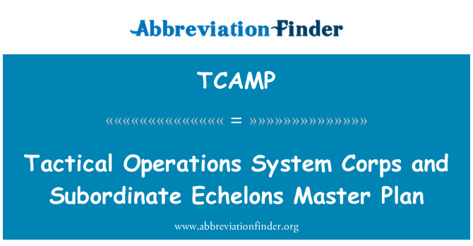 TCAMP: Tactical Operations System Corps and Subordinate Echelons Master Plan