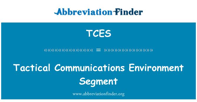 TCES: Tactical Communications Environment Segment