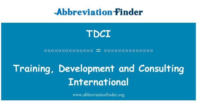 TDCI: Eğitim, geliştirme ve uluslararası danışmanlık