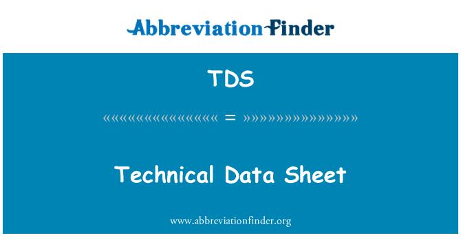TDS: Hoja de datos técnicos