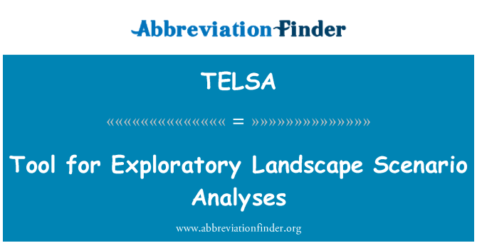 TELSA: Strumento per l'analisi di Scenario esplorativo paesaggio