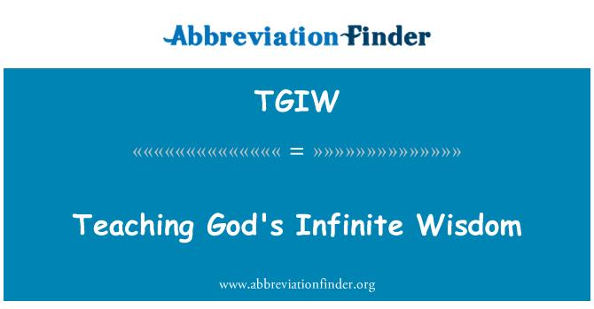 TGIW: Õpetamine Jumala lõpmatu tarkust
