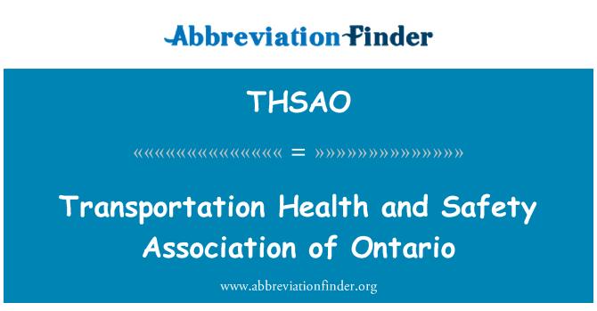 THSAO: Trasporto di salute e sicurezza associazione di Ontario