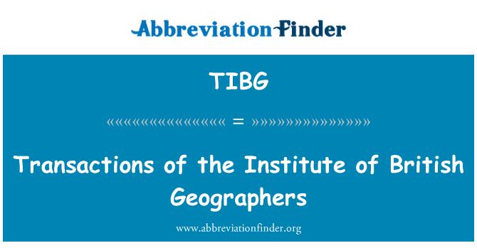 TIBG: Transactions of the Institute of British Geographers