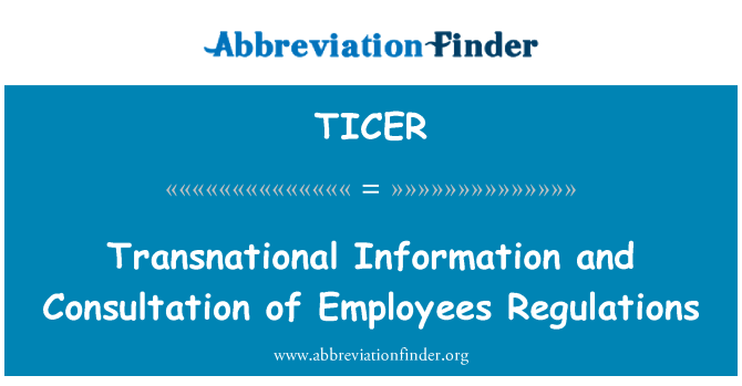 TICER: Transnational Information and Consultation of Employees Regulations