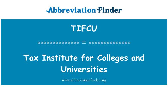 TIFCU: Skatt Institutet för högskolor och universitet