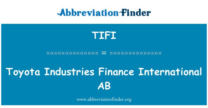TIFI: Toyota Industries Finance International AB