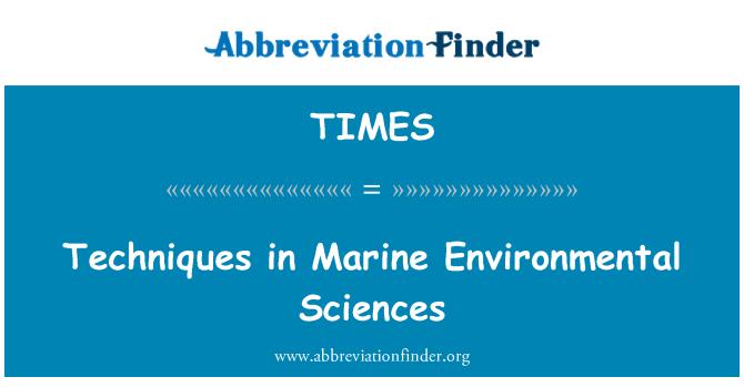 TIMES: Deniz Çevre Bilimleri teknikleri