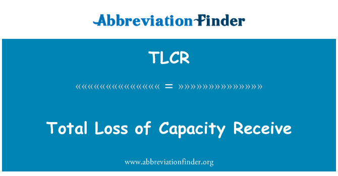 TLCR: Celkové ztráty kapacity příjem