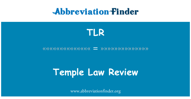 TLR: Temple   Law Review