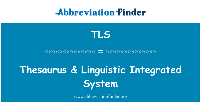 TLS: Thesaurus & Linguistic Integrated System