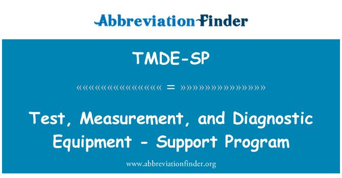 TMDE-SP: Test, Measurement, and Diagnostic Equipment - Support Program