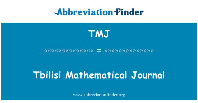 TMJ: Tbilisi Mathematical Journal